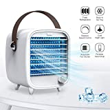 SmartDevil Portable Air Conditioner, Small USB Desktop Air Cooler Fan, USB Powered Personal Desktop Cooling Fan, Built-in Ice Box, Strong Wind, Night Light Features, for Home Office Bedroom (White)