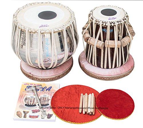 Maharaja Classic Tabla drum set, 3kg in ottone Bayan, Finest Dayan con libro, martello, cuscini e copertura (pdi-cg)