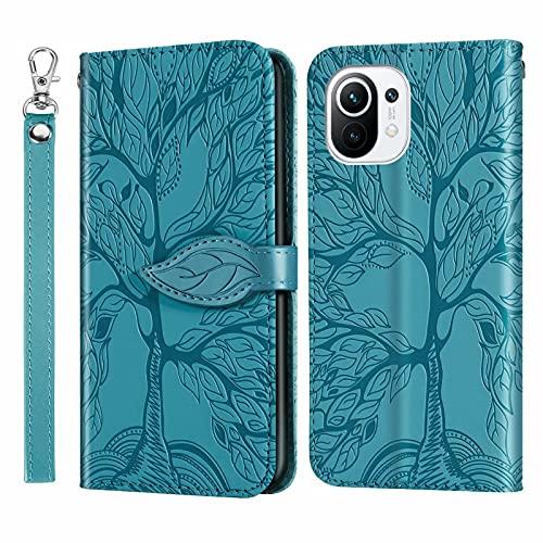 MUTOUREN Funda para Xiaomi Mi 11 - Carcasa Folio PU Cuero Flip Cover Wallet Case Anti-rasguños Protectora Bolsillo Carteras, con Protector de Pantalla - Azul