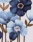 DQSJYH Pintura Al Óleo por Número Kit, Flores De Plantas Azules Ienzos para Pintar por Números con Pinceles Y Colorespara Decoración De Pared del Hogar (40X50Cm)