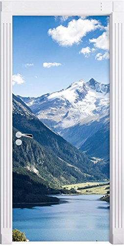Stil.Zeit Möbel See an Bergen als Türtapete, Format: 200x90cm, Türbild, Türaufkleber, Tür Deko, Türsticker