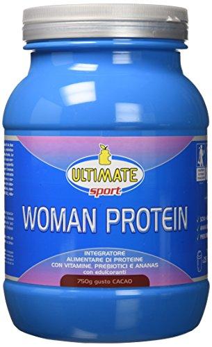 Ultimate Italia Woman Protein – Proteine Specifiche per le Donne - Isolate di Soia e Albume, con Estratto Ananas, Vitamine, Prebiotici Favoriscono il Dimagrimento Gusto Cacao Cioccolato, 750G