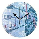 Dardos en el Mercado de valores Textura Novedad Arte Decorativo Redondo Reloj de Pared para niños Sala de Estar Dormitorio Cocina Escuela Oficina decoración