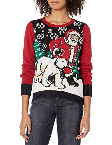 Ugly Christmas Sweater Company Pullover Xmas Sweaters Multi-Colored LED Flashing Lights Juniors, Black Light-Up Santa and Polar Bear, XS -  Ugly Christmas Sweater Juniors