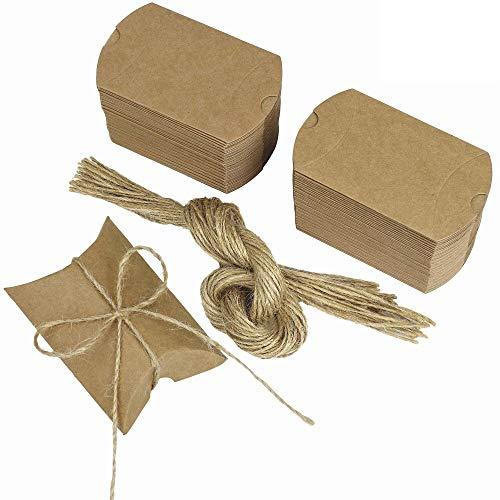 MaoXinTek Kraft Papier Geschenkbox 100 Stücke Schmuck Schachtel Gastgeschenke Süßigkeiten Schokolade Kartonagen Bonboniere Favour Box Rustikale für Hochzeit Geburtstag Party Taufe