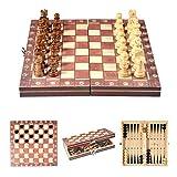 Juego de ajedrez Juego de ajedrez de viaje de madera Piezas de ajedrez magnéticas Tablero de torneo plegable Juego de ajedrez Juego de ajedrez al aire libre para niños y adultos Juego de ejercicio cer