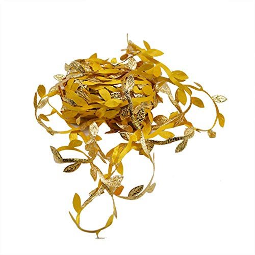 10 meter zijde bladvormige handmake kunstmatige groene bladeren voor bruiloft decoratie DIY krans cadeau scrapbooking ambachtelijke nep bloem, goud