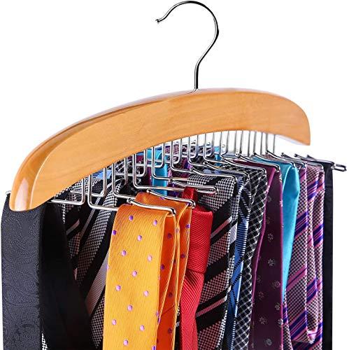 Krawattenhalter Gürtelhalter für kleiderschrank, Ohuhu 24 Haken Hölzerne Hängeorganizer für Krawatten & Gürtel, 360° drehbarer Haken aus Metall (Hölzern)