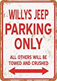 WallAdorn Willys Jeep Parking Only Iron Poster Blechschild,