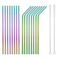 homquen cannucce colorate in acciaio inox 18 pezzi, cannucce arcobaleno riutilizzabili da 8.5, con custodia portatile (8 diritte / 8 piegate / 2 spazzole)