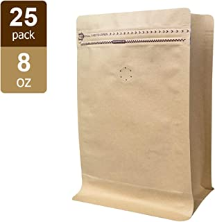 Coffee Bags - Kraft Paper Stand up Pouches Bags with Valve - 8oz (25 Pieces) (25, ½ lb / 8oz)