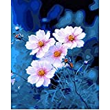 clockfc Paint by Numbers Kit DIY Canvas DIY Wall on White Flower Paint by Numbers Set Art -40x50cm-Con Marco
