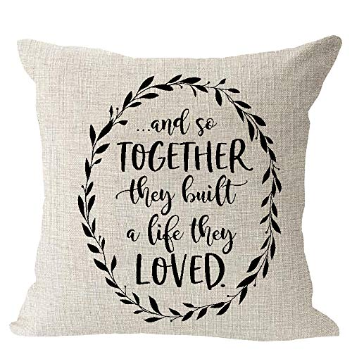 VinMea and So Together They Built A Life They Loved Olive Tree Branch Wreath Farmhouse Blessing Cotton Linen Square Throw Waist Pillow Case Decorative Cushion Cover Pillowcase Sofa 18x18 inches