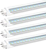 JESLED T8 T12 4FT LED Tube Light Bulbs, 24W 6000K-6500K, 3000LM, 48 Inch LED Replacement for Flourescent Tubes, Ballast Bypass, Dual-end Powered, Clear, 4 Foot Garage Warehouse Shop Lights (12-Pack)