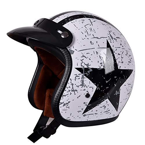 GAOZHE Retro Casco Moto Abierto,Profesional Half Moto Cascos Helmet para Mujer y Hombre,Adultos Confortable Casco Moto Jet para Street Bike Cruiser Moped Scooter,ECE Homologado