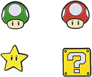 Super Mario Bros Power Ups Enamel Lapel Pin Set Question Mark, Star, Mushroom, and Sunflower