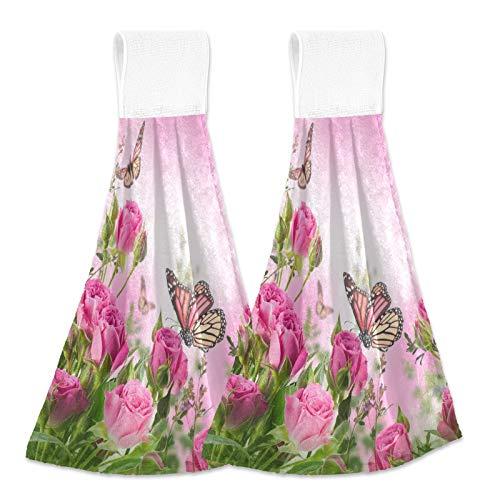Oarencol Toallas de cocina con diseño de rosas de mariposa, color rosa, con lazo para baño, 2 unidades