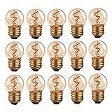 Hcnew G40 E27 LED Bombilla de filamento retro Edison Mini globo Bombilla de filamento espiral de 1W Bombilla de vidrio ámbar 220V para luces de cadena al aire libre,Súper cálido 2200K -15 Paquete