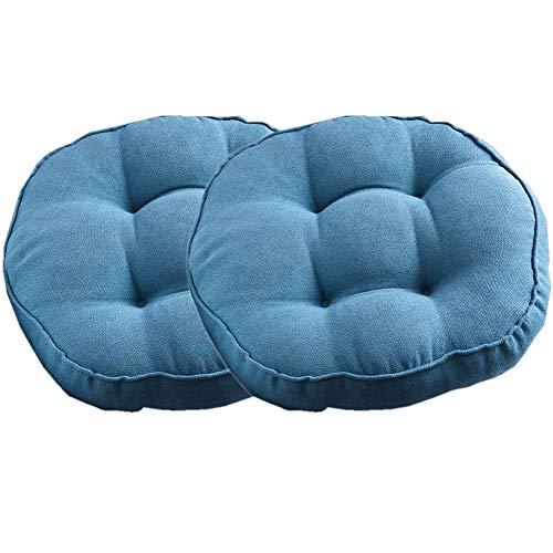 Yuly Almohadillas de asiento acolchadas gruesas, suaves y redondas, hechas de 100% algodón, aptas para sillas de adultos, sillón/sillón/silla de jardín, juego de 2