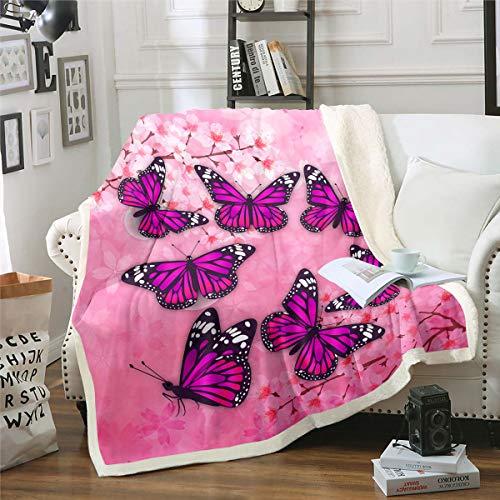 Purple Butterfly Blanket Throw Pink Floral Sherpa Blanket Spring Cherry Blossom Fleece Blanket For Kids Girls Women Fairy Insect Fantasy Garden Theme Fuzzy Blanket Bedroom Sofa Decor Baby 30'x40'
