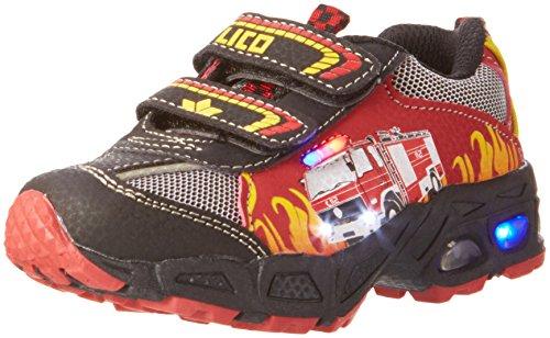 Lico HOT V BLINKY Sneaker Jungen, Rot/ Schwarz/ Gelb, 25 EU