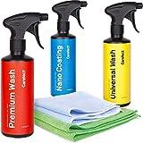 Media Chain Carefect Universal Wash Premium Wash Nano Coating 3er Set | Autoshampoo für Innen- und Außenbereich| Lackreiniger 500 ml | Professionelle Fahrzeugreinigung auf Wasserbasis