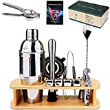 Cocktail Shaker Set Bartender Kit, AerWo 16pcs Stainless Steel Bar Tool Set with Wooden Stand Cocktail Recipes, Professional Bar Set Cocktail Shaker Set (Silver) for Drink Mixing, Home, Bar, Parties
