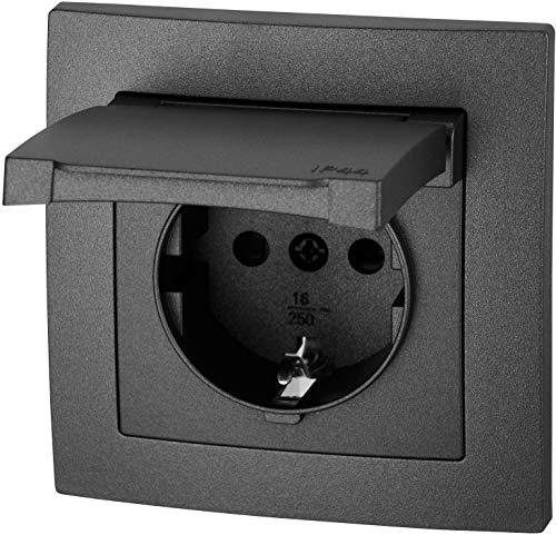 UP Feuchtraum Steckdose mit Feder-Klappdeckel IP44 - passt in Schalterdosen 60mm - Klemmanschluss - All-in-One - Rahmen + Einsatz + Abdeckung + Silikonring - ET-1 anthrazit
