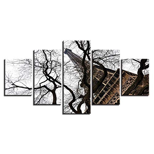 5 Canvas paintings Pictures HD Printed Wall Artwork Painting Eiffel Tower Landscape Home Decor Living Room Modern Canvas Frameless