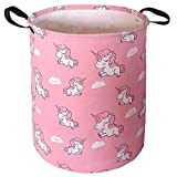 19.7x15.7 Inch Storage Bin with Pink Unicorn Design, ZUEXT Canvas Laundry Hamper, Waterproof Collapsible Clothes Baskets for Baby Girls Nursery Bedroom Toys Storage Xmas Birthday Baby Shower Gift