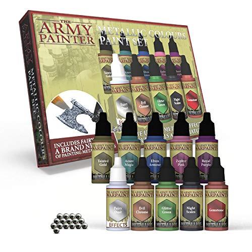 The Army Painter | Metallic Colours Paint Set | 10 Pinturas Metálicas y Bolas de Mezcla | para Pintura y Modelado de Figuras Miniatura de Wargames