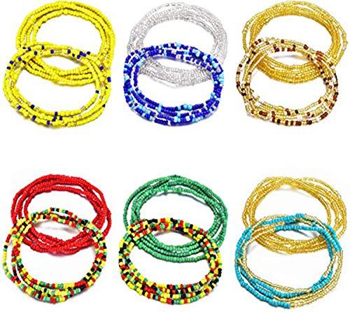 AllRing 12 Stücke Sommer Schmuck Taille Perle Set,Bunte Taille Perle, Bauchperle, Afrikanische Taille Perle, Körperkette,Perlen Bauchkette, Armband,Fußkette.Bikini Schmuck für Damen Mädchen
