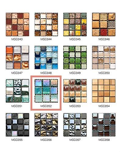 50 Piezas de Pegatinas de Azulejos Estilo Retro Mosaico Adhesivo Pegatinas Autoadhesivas Para Azulejos DIY Baño Cocina Pegatinas de Decoración Adhesivos de Pared (10*10CM*50Piezas, MSCO52)