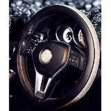 2019 New Crystal Steering Wheel Cover Rhinestones Diamond Bling for Women (Black Silver, 14.5-15'')