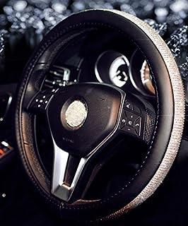 2019 غطاء عجلة القيادة كريستال جديد مرصع بأحجار الراين الماس بلينغ للنساء (أسود فضي، 14.5-15 بوصة)