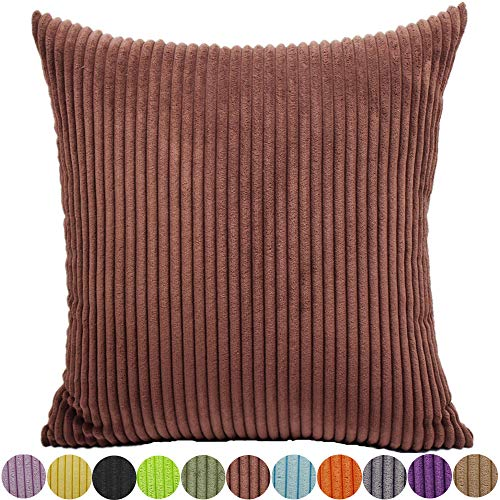 FEILEAH Striped Corduroy Soft Decorative Square Throw Pillow Cover Cushion Covers Pillowcase Home Decor for Sofa Chair Couch/Bedroom Decorative Pillowcases 1 Piece Dark Brown 22x22inch/55X55CM