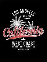 【ロサンゼルス カリフォルニア ヤシの木】 ポストカード・はがき(黒背景)