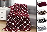 Elegant Comfort Luxury Ultra-Plush Velvet Touch FleeceThrow Soft, Warm, Cozy  Micromink Sherpa-Backing Reversible Blanket for Bed, Sofa and Couch, (50' x 60'), Bloomingdale Burgundy