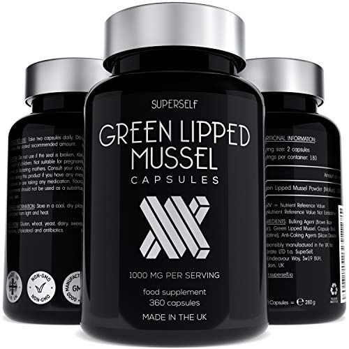 Green Lipped Mussel Capsules 500mg - New Zealand Green Lipped Mussel Powder Capsules for Humans & Dogs - 360 Tablets 6-Month Supply - High Strength 1000mg per Serving - UK Made Supplement