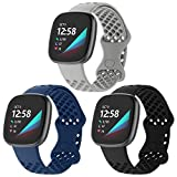 3 Pack Band Compatible with Fitbit Sense Bands, Waterproof Sport Silicone Fitbit Versa 3 Bands for Women Men with Breathable Holes for Fitbit Versa 3/ Fitbit Sense Smart Watch, Black Grey Navy Large