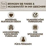 Essgeschirr 6 Personen Set - Trendy Rustikales Design in Beige - Porzellan Schüssel- und Teller Set Modern 24-teilig - Spülmaschinenfestes Tafelservice Set - Geschirrset Vintage von Pure Living - 3