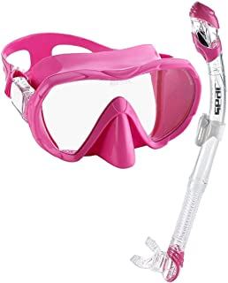 Snorkel Set for Men and Women | Comfortable Snorkeling Gear, Adjustable Frameless Mask Made from Clear Tempered Glass | Dry Snorkel with Bottom Purge Valve, Great for Freediving