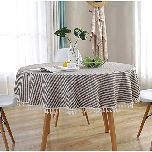 Familienleben Ausrüstung Tischdecke Moderne gestreifte Quaste 150CM Runder Tischbezug Baumwolle Leinen Tischdecke Nordischer Stil ative Runde Tischdecken (Farbe: Beige Streifen Spezifikation: 140*1