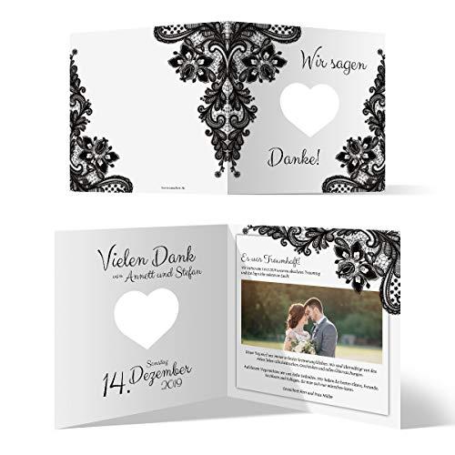 30 x Lasergeschnittene Hochzeit Dankeskarten Foto und Text individuell Herz lasergeschnitten - Rustikal Schwarz Weiß