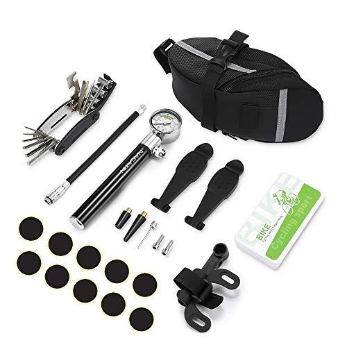 NACATIN Herramientas de Reparación Neumáticos de Bicicleta, 16 en 1 Herramientas de Bicicleta Multifuncionales con Mini Bomba de Bici, Kits de Reparación como Parches y Palancas para Neumáticos