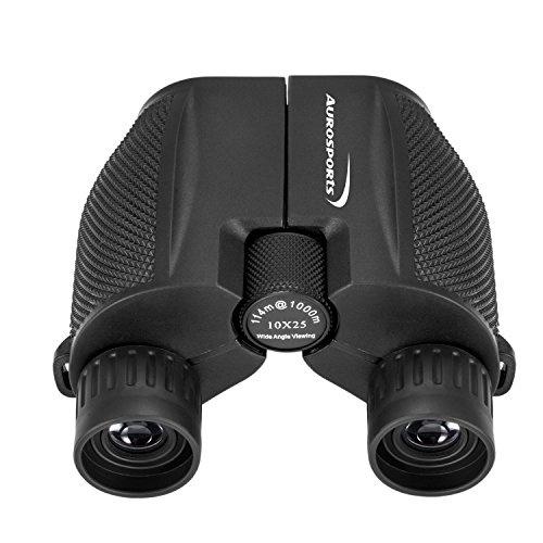 Aurosports 10x25 Folding High Powered Compact Binoculars for Adults Kids With Weak Light Night Vision Clear Binocular for Bird Watching Great for Outdoor Sports Games and Concerts