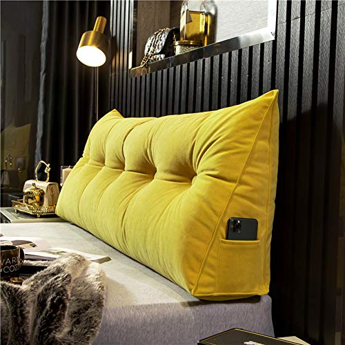 FTFDTMY Triangular Reading Pillow Large Backrest Positioning Support Bolster Headboard Cushion Wall Pillow, Pearl Cotton Filled Rest Daybed Pillow With Removable Cover, Velvet,Yellow,120 * 50 * 20cm