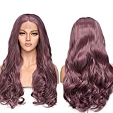 SEGO Parrucca Donna Viola Lunga Capelli Mossi Lace Front Wig Sintetica 60cm Parrucche Cosplay Halloween 130% Density Pizzo Frontale 12'*3' - Viola Ramato