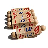 The Original Montessori Phonetic Reading Blocks - Made in The USA - Educational Materials for The Beginning Reader - Eco Friendly Wooden Manipulative Toy for Kindergarten, Toddlers 3 4 5 6 Year Olds