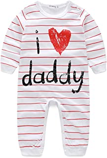 Kimocat Unisex-Baby Newborn I Love Mummy I Love Daddy Long Sleeve Romper Pajama Outfits